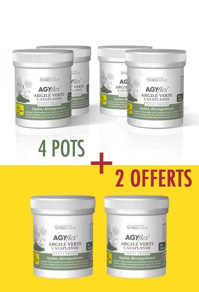 4 + 2 OFFERTS AGYflex® ARGILE VERTE - Cataplasme pour Muscles et Articulations